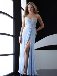 Sheath/Column One Shoulder Floor-length Chiffon Prom Dress with Beading at Msdressy