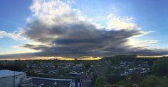 #denmark #sky #clouds #bluesky #sunset #danish #dansk #panoramic #houses #trees #green #yellow #blue #white #gray #norain #hvidovre