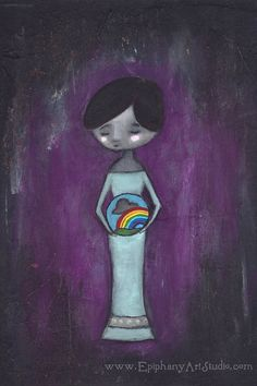 """Fine Art Print - 8"""" x 12"""" Giclee, Mother's Day Baby Shower Gift, Rainbow Pregnancy After Loss Healing Art - """"After the Storm"""""""