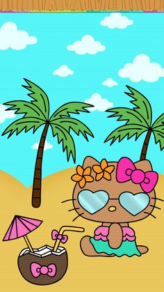 Summer Wallpaper, Galaxy Wallpaper, Girl Wallpaper, Hello Kitty Backgrounds, Hello Kitty Wallpaper, Cute Home Screens, Melody Hello Kitty, Cute Lockscreens, Hello Sanrio