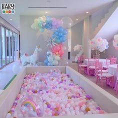 Unicorn Themed Birthday Party, Rainbow Birthday, Unicorn Birthday Parties, Unicorn Party, Birthday Party Decorations, 2nd Birthday, Birthday Ideas, Ball Pit Party, Ball Pit Wedding