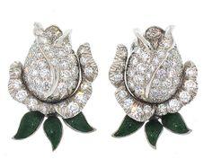 Oscar Heyman Diamond Rose Earrings in Platinum #502879