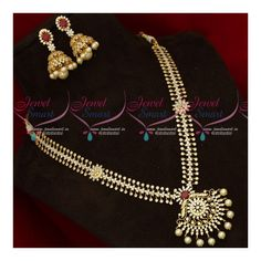 American Diamond Fashion Jewellery Medium Haram Latest Gold Plated Collections Total length of the neckace is 12 inches inches on both sides) Width of the necklace is 14 mm. Height of the pendant is 55 mm Earrings height is 47 mm and width i American Diamond Jewellery, Diamond Jewelry, Gold Plated Necklace, Pearl Necklace, Diamond Mangalsutra, Fashion Jewelry, Designers, Plating, Pendants