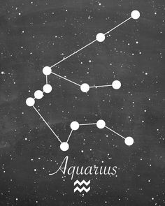 Aquarius Zodiac Constellation Chalkboard Style Astrology Horoscope Digital Art…