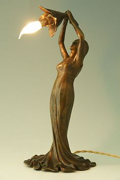 Art Nouveau Figural Bronze Lamp Lady Holding A Flower by Taupin D Auge  France  Antique french l f moreau figural bronzed spelter statue sculpture  . Antique French Lamps On Ebay. Home Design Ideas