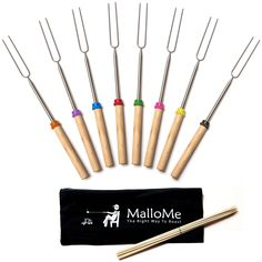 Amazon.com : Marshmallow Roasting Sticks Set of 8 Patio Fire Pit Camping Cookware Accessories Campfire Kids Cooking, 32 Inches - Canvas Pouch, 10 Bamboo Smores Skewers, & Ebook : Sports & Outdoors