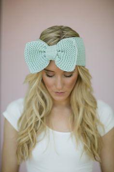 Knitted Bow Headband MINT Ear Warmer Headband in Green Women's Hair Band Stylish Fashion Handmade Hair Fashion Headband (WIDE Knit Bow)