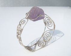 sterling silver wire wrapped jewelry bracelet with rough amethyst bead