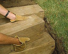 These wooden steps prevent erosion and make it easier to ascend a slope at the same time./