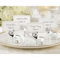 Lucky in Love Silver-Finish Elephant Place Card Holder [528-25082SV Elephant Card Holder] : Wholesale Wedding Supplies, Discount Wedding Favors, Party Favors, and Bulk Event Supplies