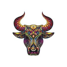 Creative abstract colorful bull head. Style: Abstract. Color: Colorful. Tags: Best, Creative, Awesome