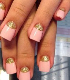 Gold with pink nails