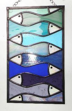 Large Interlocking Fish Panel #StainedGlassFeathers #StainedGlassFish