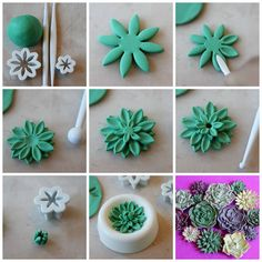 Fondant or clay! Wilton fondant tools work great with clay! Fondant Flower Tutorial, Fondant Flowers, Sugar Flowers, Cake Tutorial, Fondant Flower Cupcakes, Fondant Butterfly, Pretty Cupcakes, Fondant Figures, Polymer Clay Flowers