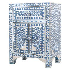 """Nora Moroccan Night Table in Indigo - By Nature - 26""""H x 18""""D x 19""""W"""