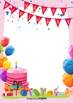 Happy Birthday Background Of Simple Cute Cartoon Posters - Geburtstag Happy Birthday Greetings Friends, Happy Birthday Font, Happy Birthday Invitation Card, Happy Birthday Posters, Free Printable Birthday Invitations, Happy Birthday Greeting Card, Party Invitations Kids, Happy Birthday Template, Birthday Quotes