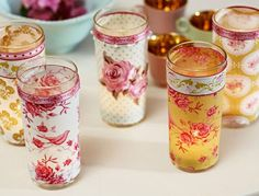 Decorate glasses with fabric & ribbons to make sweet votive candle holders
