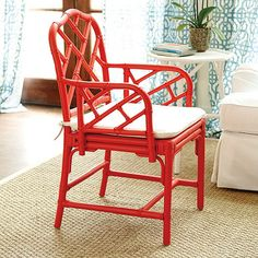 Macau Armchair from @Ballard Designs in coral is fun and fab @Stylebeat Marisa Marcantonio goes big for color