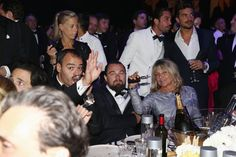 Even his mom, Irmelin, got a couple of puffs in. | 6 Times Leonardo DiCaprio Has Hit the Vape During a Big Event | POPSUGAR Celebrity