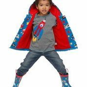 Hatley Spaceships Raincoat Rockets, planets, aliens and stars. Blue coat with red lining.