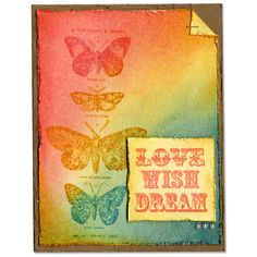 Tim Holtz Butterflies Distress Inks Bright Card