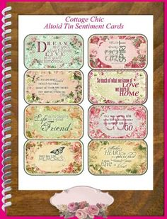 Cottage Chic Quotes Altoid Tin Project - Download | SenecaPondCrafts - Digital Art on ArtFire