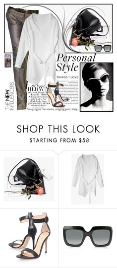 """gray chic"" by jecakns ❤ liked on Polyvore featuring Gianvito Rossi, Gucci, modern and Genuine_People"