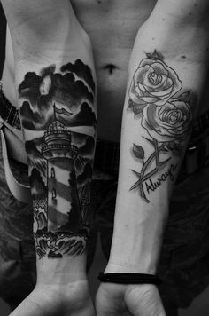Lighthouse and rose forearm tattoos