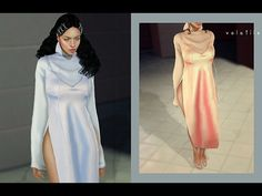 Emina Dress by Volatile Sims for The Sims 4 Long Dress With Slit, Sims 4 Dresses, Sims 4 Characters, The Sims 4 Download, Sims 4 Cc Finds, Sims 4 Clothing, The Sims4, Sims 4 Custom Content, Sims Cc