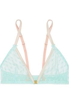 Mimi Holliday by Damaris Hummingbird stretch silk-trimmed polka-dot tulle soft-cup bra | NET-A-PORTER £40 EXCLUSIVE TO NET-A-PORTER.COM. Mimi Holliday by Damaris' bra is designed in a pretty mint and pale-pink palette. It's cut from delicate polka-dot tulle and edged with stretch-silk for light structure. The clasp fastens at the front to softly enhance your curves.  Mint tulle, pale-pink stretch-silk Clasp fastening at front Fabric1: 100% nylon; fabric2: 94% silk, 6% elastane Hand wash…
