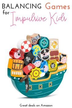18 all-natural wood pieces painted with bright, bold colors, and 1 boat to balance them on. Can you balance them all? Imagination, Blocks For Toddlers, Pirate Games, Pirate Theme, Stacking Toys, Jolly Roger, Imaginative Play, Fine Motor Skills, Critical Thinking