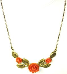 #Coral Plastic #Floral Necklace. This great piece is composed of a strong gold toned metal chain that leads down to a very unique floral centerpiece. This section is made up ... #coral #flowers #rose #floral #fall #gift #classic #judysgems2 #autumn