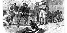 This is depicting the transatlantic slave trade. This relates to the history of Africa because the trade displaced, hurt, and killed many Africans. It was when many African were forcefully taken to America and sold as slaves.