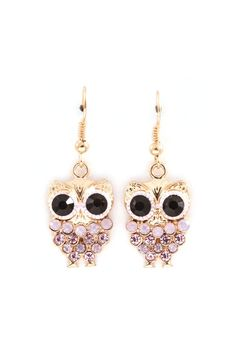 Owly Earrings in Aspen Crystal