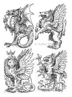Heraldisches Quartett von vantid on DeviantArt - Tattoo Images Griffin Tattoo, Medieval Drawings, Medieval Art, Medieval Tattoo, Fantasy Creatures, Mythical Creatures, Lion Tattoo, Deviantart, Coat Of Arms