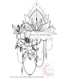 Hip Thigh Tattoos, Floral Thigh Tattoos, Shoulder Tattoos For Women, Back Tattoo Women, Sleeve Tattoos For Women, Back Thigh Tattoo, Lotus Tattoo Design, Flower Tattoo Designs, Bruder Tattoo