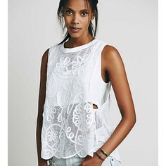 Duchess soutache tank, white Oversized and effortless sheer mechs tank with floral embroidery detailing. High low hem and dropped armholes. Lined with an attached cropped tank. Color white Free People Tops Tank Tops