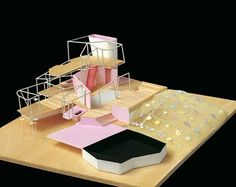 ANDRÉS JAQUE ARQUITECTOS. Hospice of The Floating Entertainments (2008).  Painted balsa wood, pine straw and polyurethane foam. Scale 1:50. 55 x 65 x 19 cm (List steps, bottom 57x30x33,5)