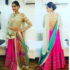 """Front &  Back of amazing lehenga  Sonam Kapoor  Outfit  ~ Anju Modi Jewellery  ~ Anmol Jewelry  Hair ~ Alpa Khimani Makeup  ~ Mallika Bhat…"""