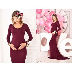 Burgundy Jersey Long Sleeves Slim Fit Maternity Gown Maternity Dress... ($115) ❤ liked on Polyvore featuring maternity, dresses, white and women's clothing