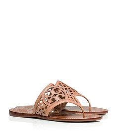 THATCHED PERFORATED THONG SANDAL 			 - NATURAL BLUSH