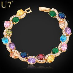 Luxury Crystal  Bracelet Charm Jewelry Gold Color AAA Cubic Zirconia Bracelets & Bangles