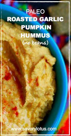 Paleo Roasted Garlic Pumpkin Hummus (no beans) | savorylotus.com