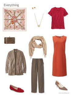 4 piece wardrobe in brown, orange and red