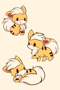 "tamabeldraws: "" growlithe puppers """