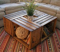 crate coffee table 10 Useful DIY Home Projects Wine Crate Coffee Table, Coffee Table Made From Crates, Wood Crate Table, Crate Side Table, Beginner Woodworking Projects, Woodworking Plans, Popular Woodworking, Woodworking Furniture, Woodworking Workshop