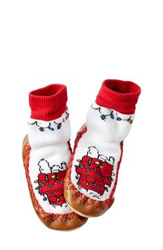 Hanna Andersson Peanuts® Snoopy Slipper Moccasin (Walker, Toddler & Little Kid) available at #Nordstrom