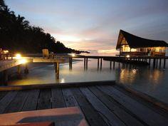 Evening view from Dhoni Bar, Kuramathi, Maldives.