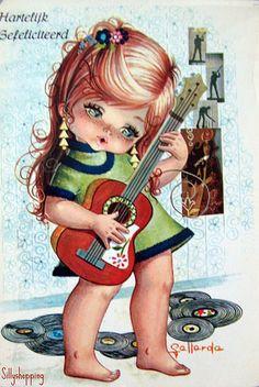 Vintage Illustration Cute Vintage Big Eyed Girl Postcard by Gallarda. Vintage Pictures, Vintage Images, Art Pictures, Vintage Cards, Vintage Postcards, Adorable Petite Fille, Vintage Illustration, Jolie Photo, Cute Images