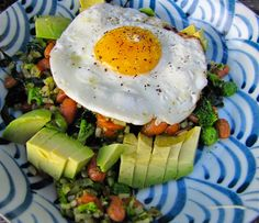 Albion Cooks: Pinto Bean, Avocado, Broccoli Bowl Topped with a Fried Egg